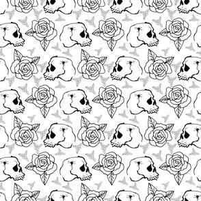 Hand drawn skulls and roses. Stylish monochrome seamless pattern.