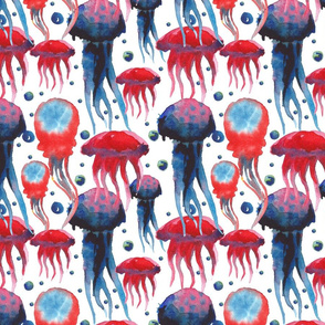 Watercolor hand painted colorful sea pattern with jellyfish