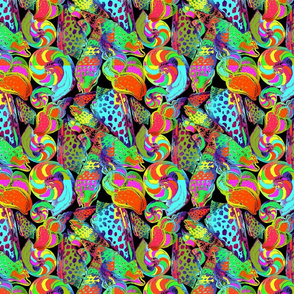 Hand painted psychedelic abstract pattern with sea shells