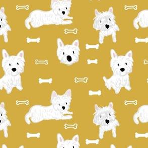 Westie dog bones in mustard