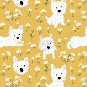 Westie dog floral yellow