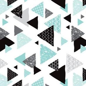 Geometric triangle aztec illustration hand drawn pattern mint blue rotated