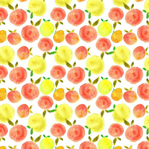 Watercolor hand painted brightly juicy citrus fruits
