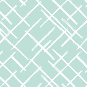 Abstract geometric raster checkered diagonal stripes stroke and lines trend pattern grid mint green