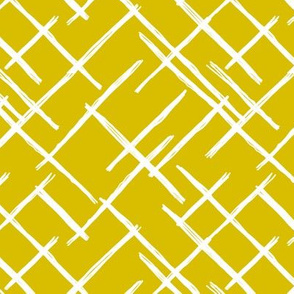 Abstract geometric raster checkered diagonal stripes stroke and lines trend pattern grid ochre yellow