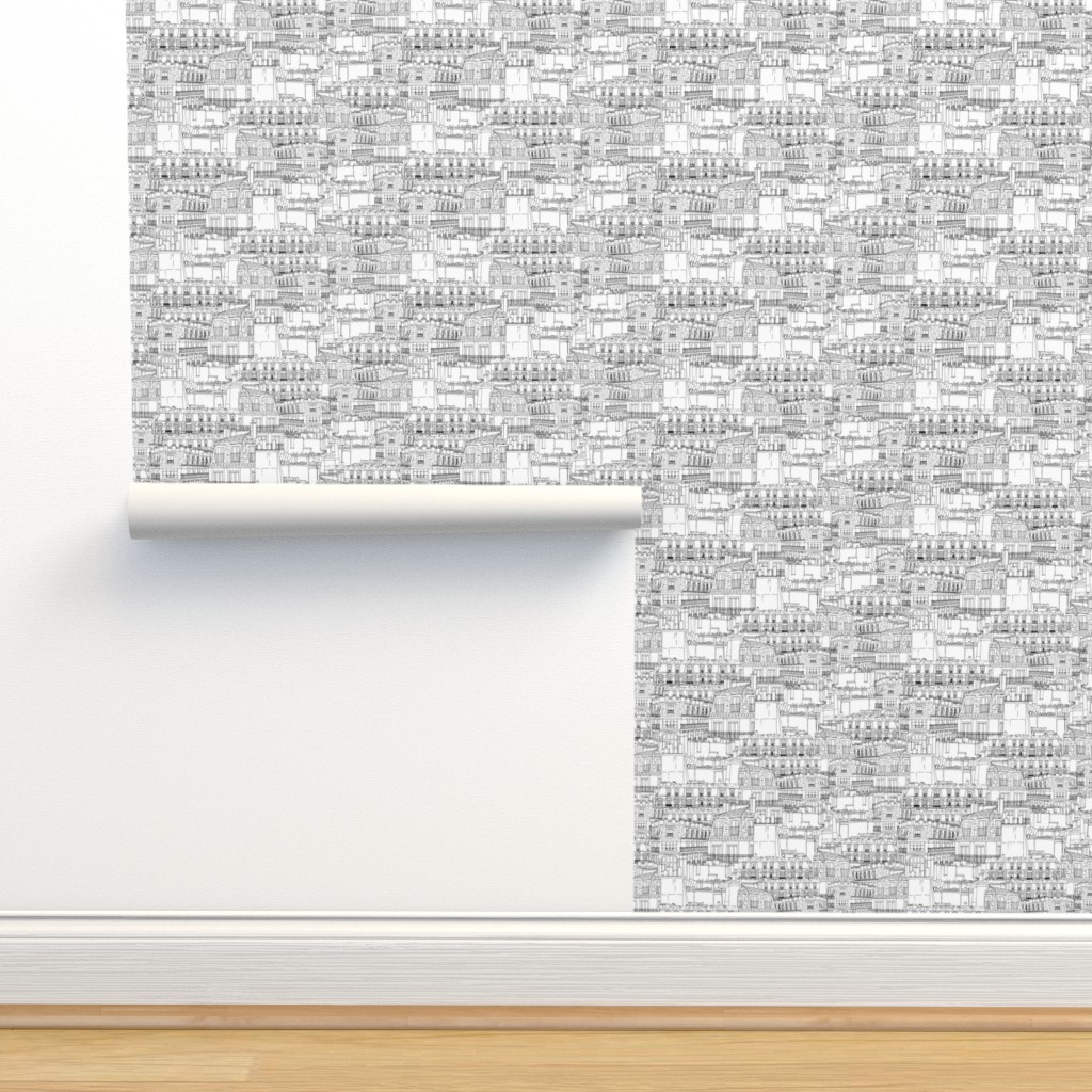 Isobar Durable Wallpaper featuring Rooftops on Rooftops by anniemontgomerydesign