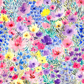 Field flowers watercolor