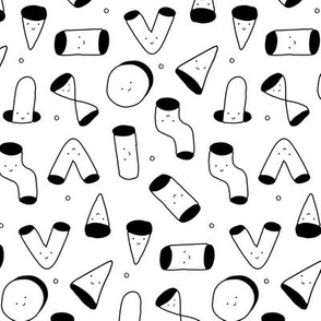 abstract geometric funny and cute creatures forms