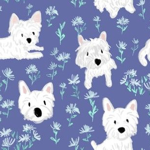 Westie and floral in lavendar- West Highland White Terrier Dog Breed