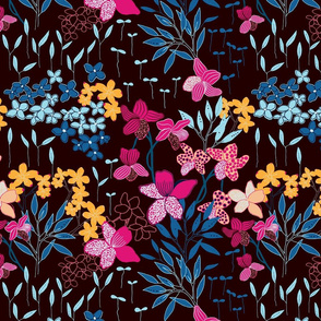 Dusk and Dawn - dark floral, large scale 01