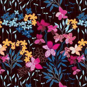 Dusk and Dawn - dark floral, small scale 05