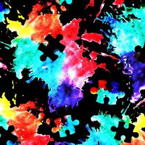 autism awareness watercolor splatter fabric w/ puzzle piece (black) C18BS