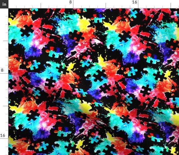 Autism Awareness Watercolor Splatter Fab Spoonflower
