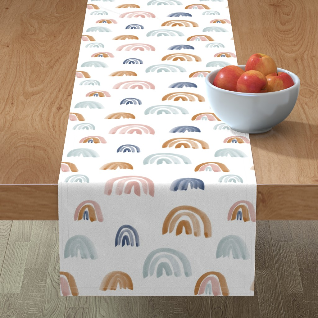 """Minorca Table Runner featuring Earth Tones 2"""" Scattered Watercolor Rainbows by anniemontgomerydesign"""