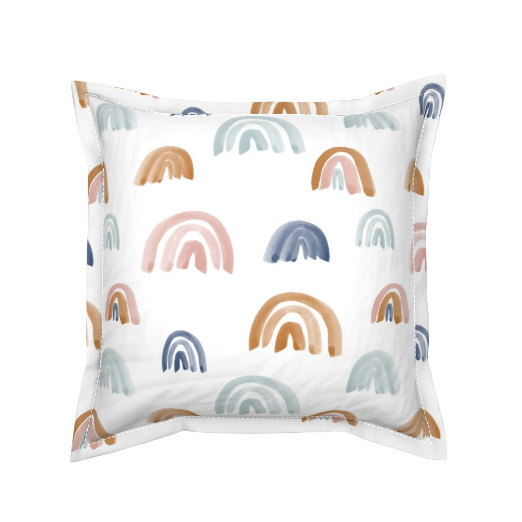 """Serama Throw Pillow featuring Earth Tones 2"""" Scattered Watercolor Rainbows by anniemontgomerydesign"""