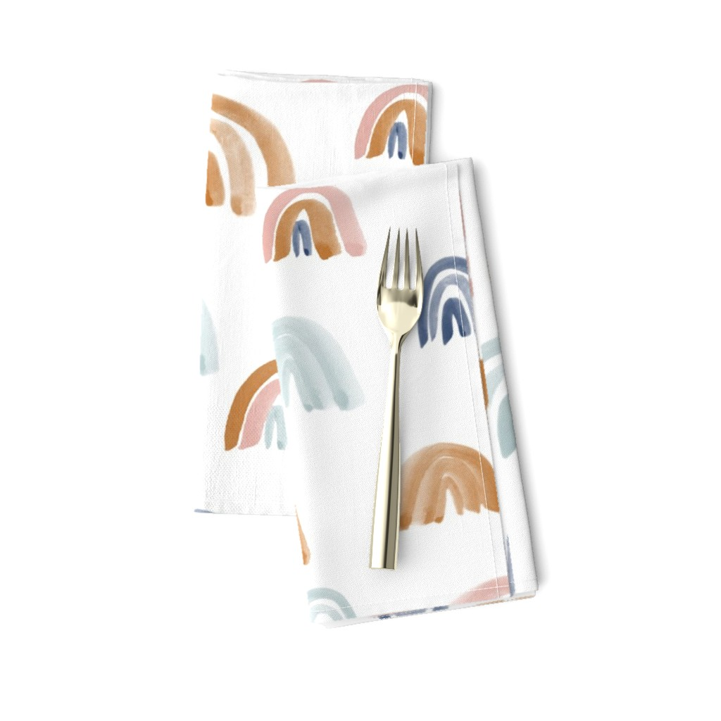 "Amarela Dinner Napkins featuring Earth Tones 2"" Scattered Watercolor Rainbows by anniemontgomerydesign"