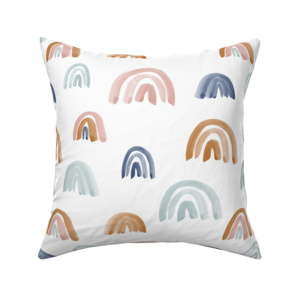 "Catalan Throw Pillow featuring Earth Tones 2"" Scattered Watercolor Rainbows by anniemontgomerydesign"