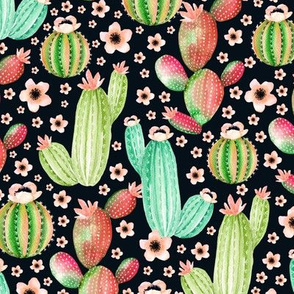 Watercolor cactus. Dark blue pattern