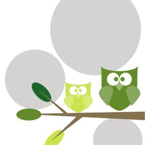 Owl- White Bkgnd-Gray Circles