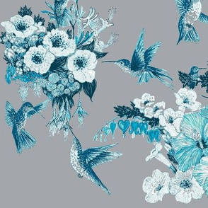 Teal & Tiffany Humming Bird on Light Gray