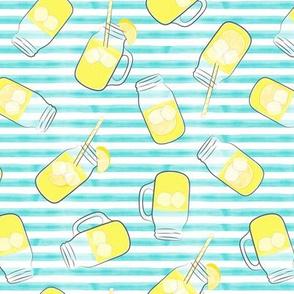 lemonade on teal stripes