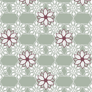 Holiday lace 2b sage and white 6 plus flowers light