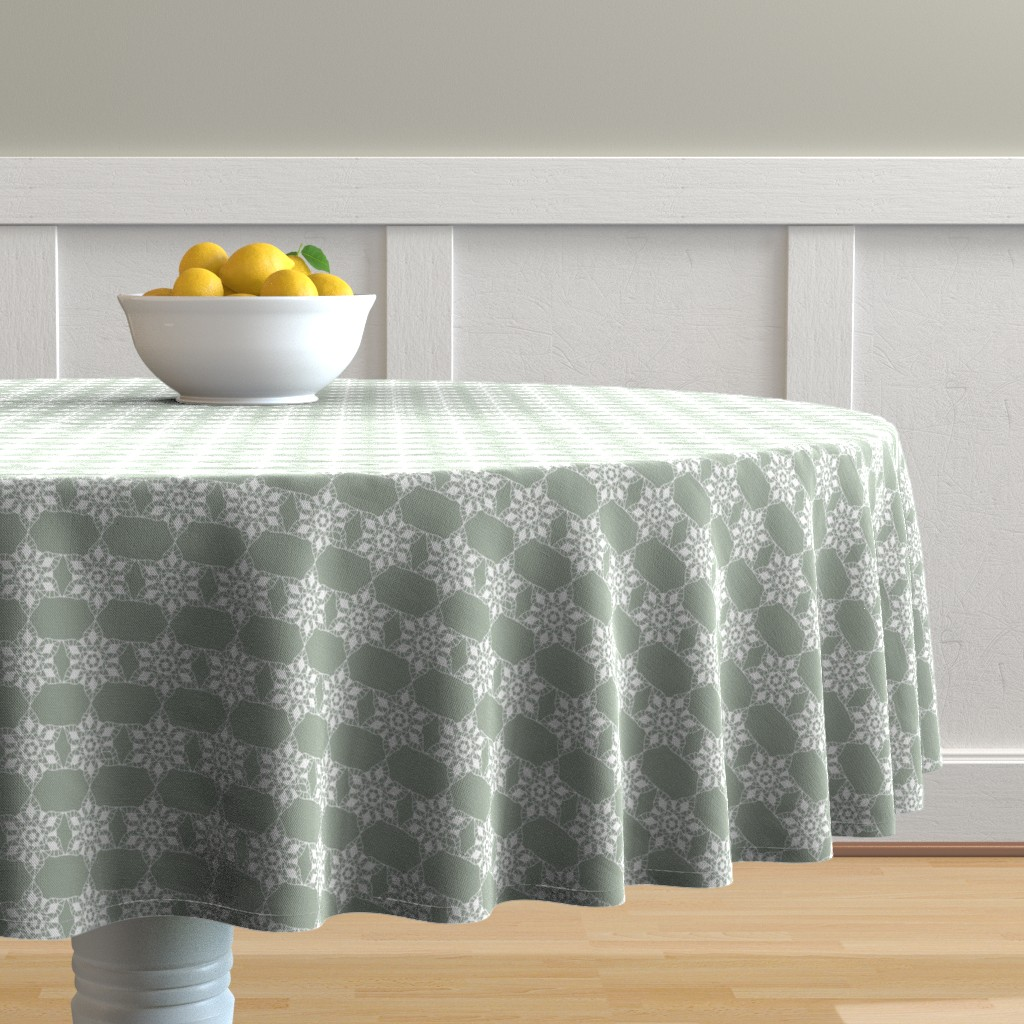 Malay Round Tablecloth featuring Holiday lace 2b sage and white 6 by khowardquilts