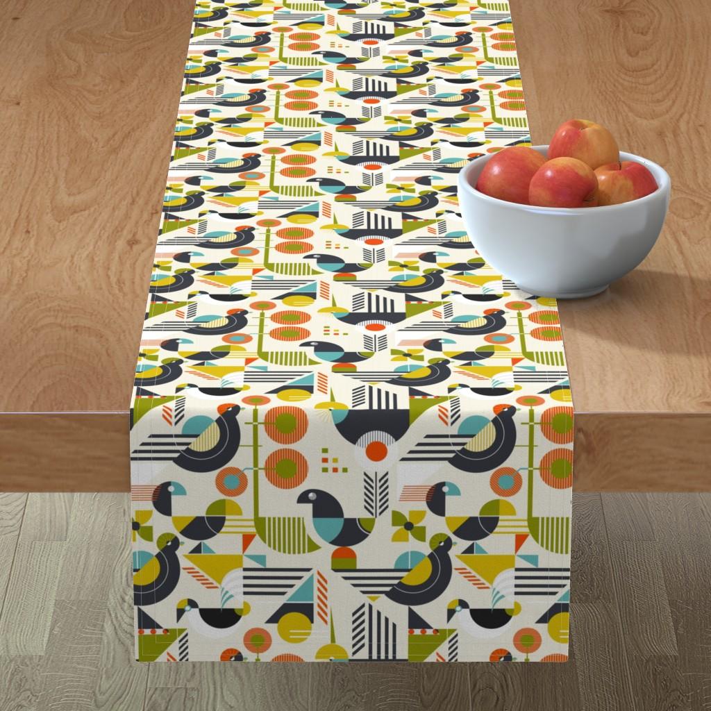 Minorca Table Runner featuring Bauhaus style birds by avisnana