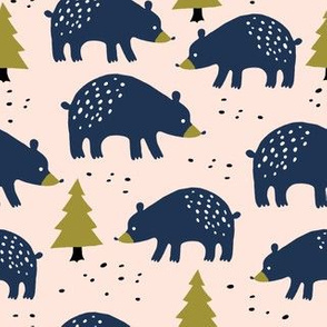 Bears in the winter forest on blush