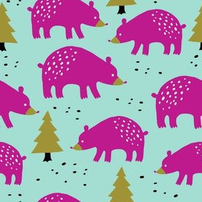 Bears in the winter forest pink on mint