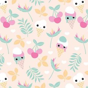 Cute kawaii ice cream flowers and cherry blossom leaves summer design pastel girls