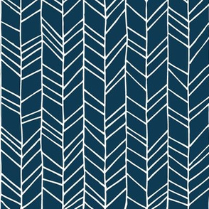 Sailor Blue Crazy Chevron Herringbone Hand Drawn Geometric Pattern GingerLous