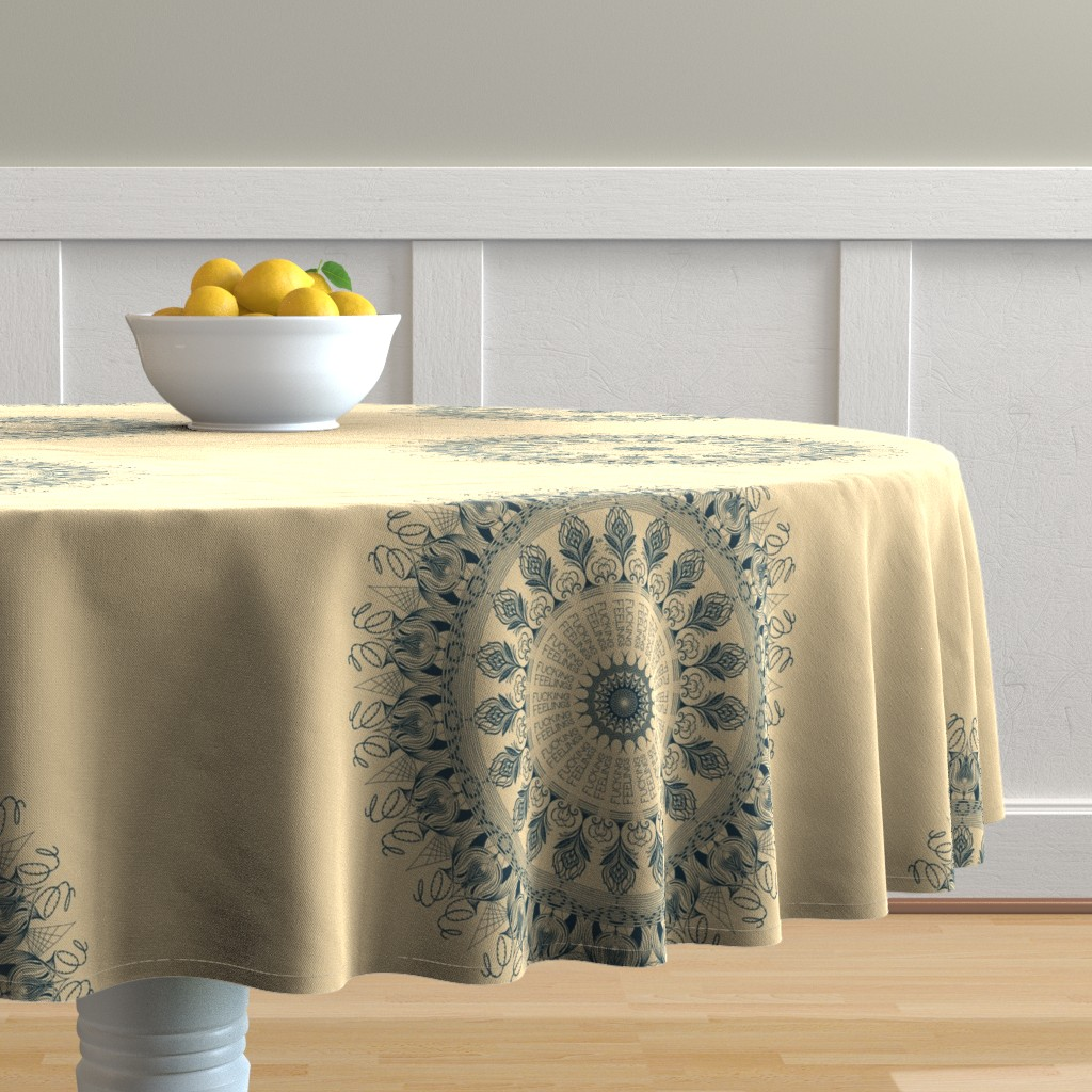 Malay Round Tablecloth featuring Fucking Feelings - mandala by secretbean