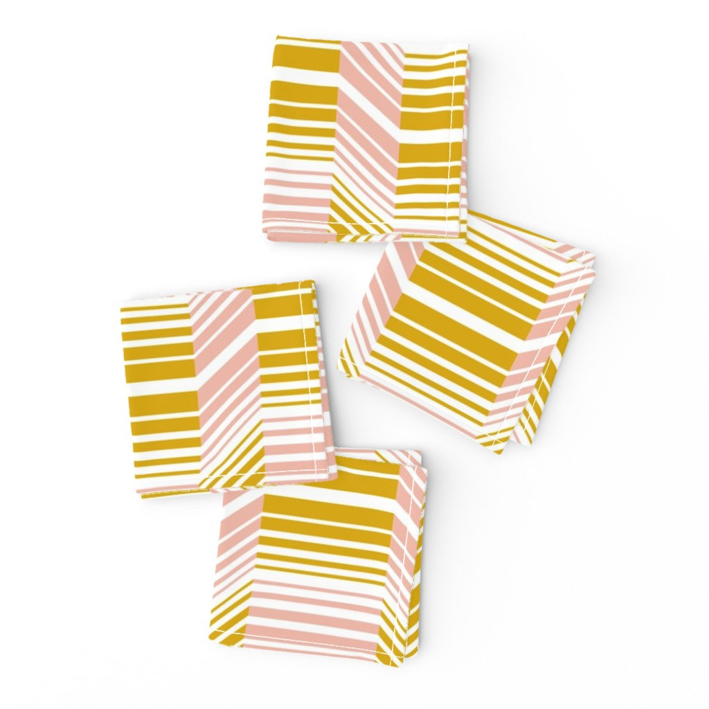 Frizzle Cocktail Napkins featuring Delineate - Blush Mustard Bauhaus Geometric by heatherdutton