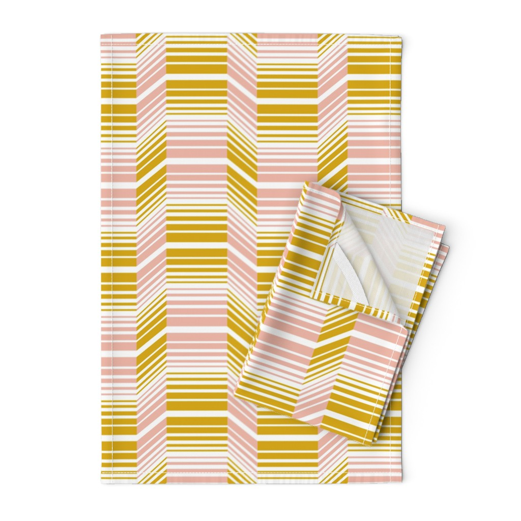 Orpington Tea Towels featuring Delineate - Blush Mustard Bauhaus Geometric by heatherdutton