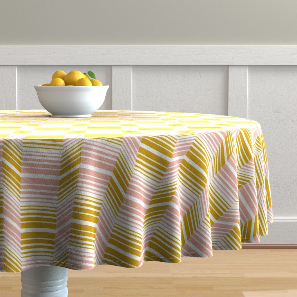 Malay Round Tablecloth featuring Delineate - Blush Mustard Bauhaus Geometric by heatherdutton