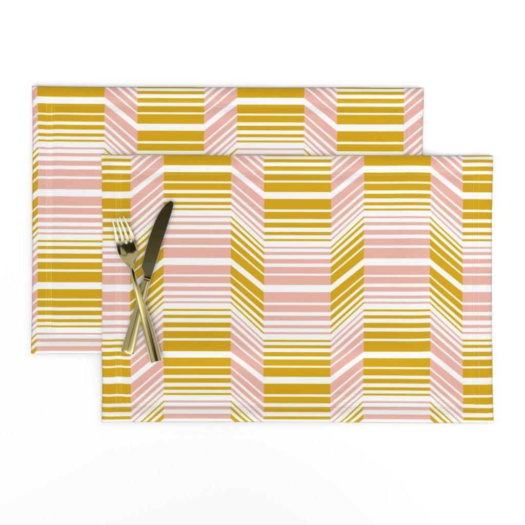 Lamona Cloth Placemats featuring Delineate - Blush Mustard Bauhaus Geometric by heatherdutton