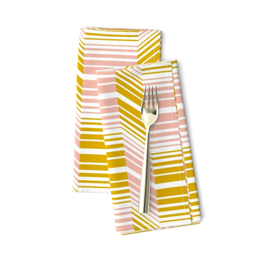 Amarela Dinner Napkins featuring Delineate - Blush Mustard Bauhaus Geometric by heatherdutton