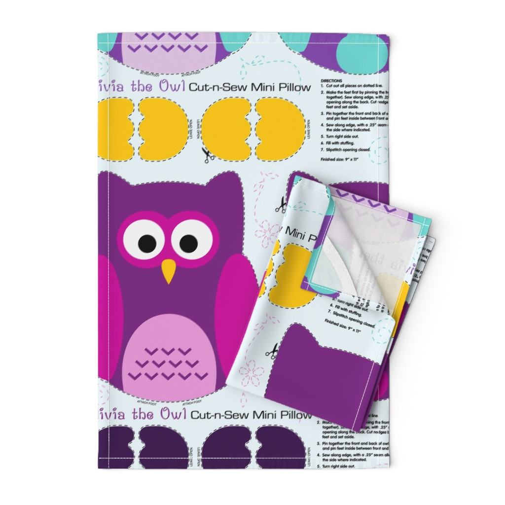 Orpington Tea Towels featuring Olivia the Owl Cut and Sew Pillow Purple by vintage_style