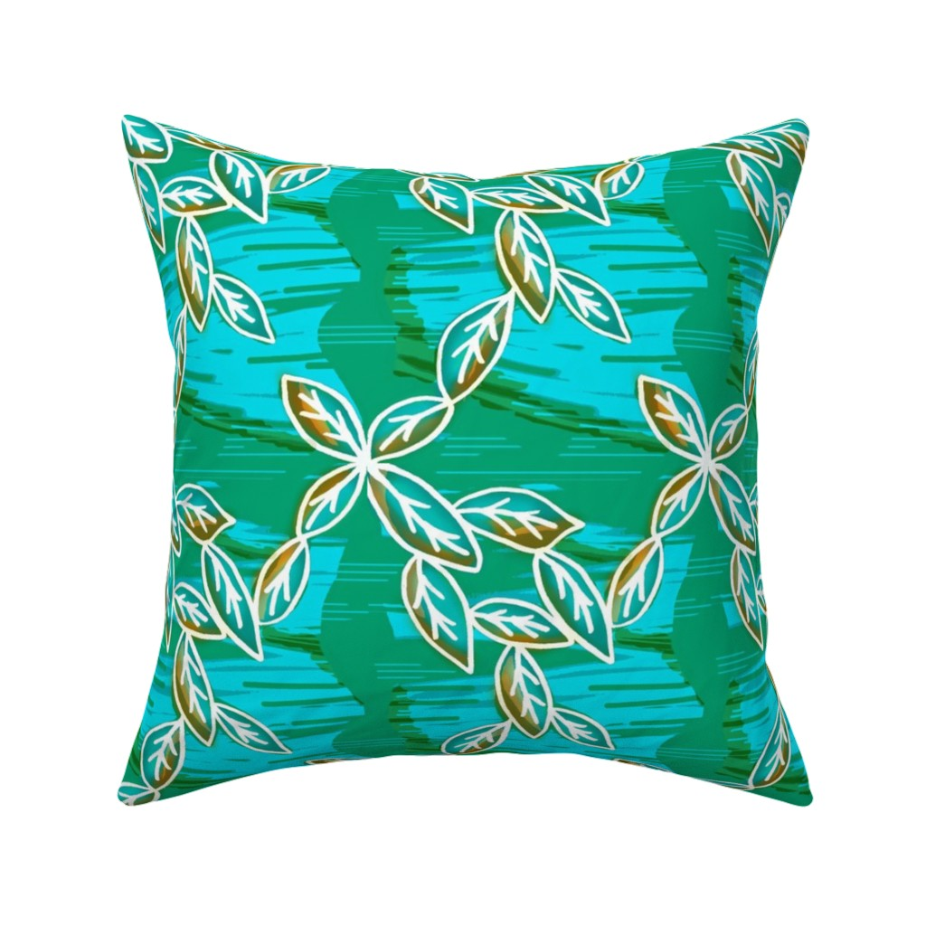 Catalan Throw Pillow featuring Emerald Serenity-Water,Wind & Foliage by franbail