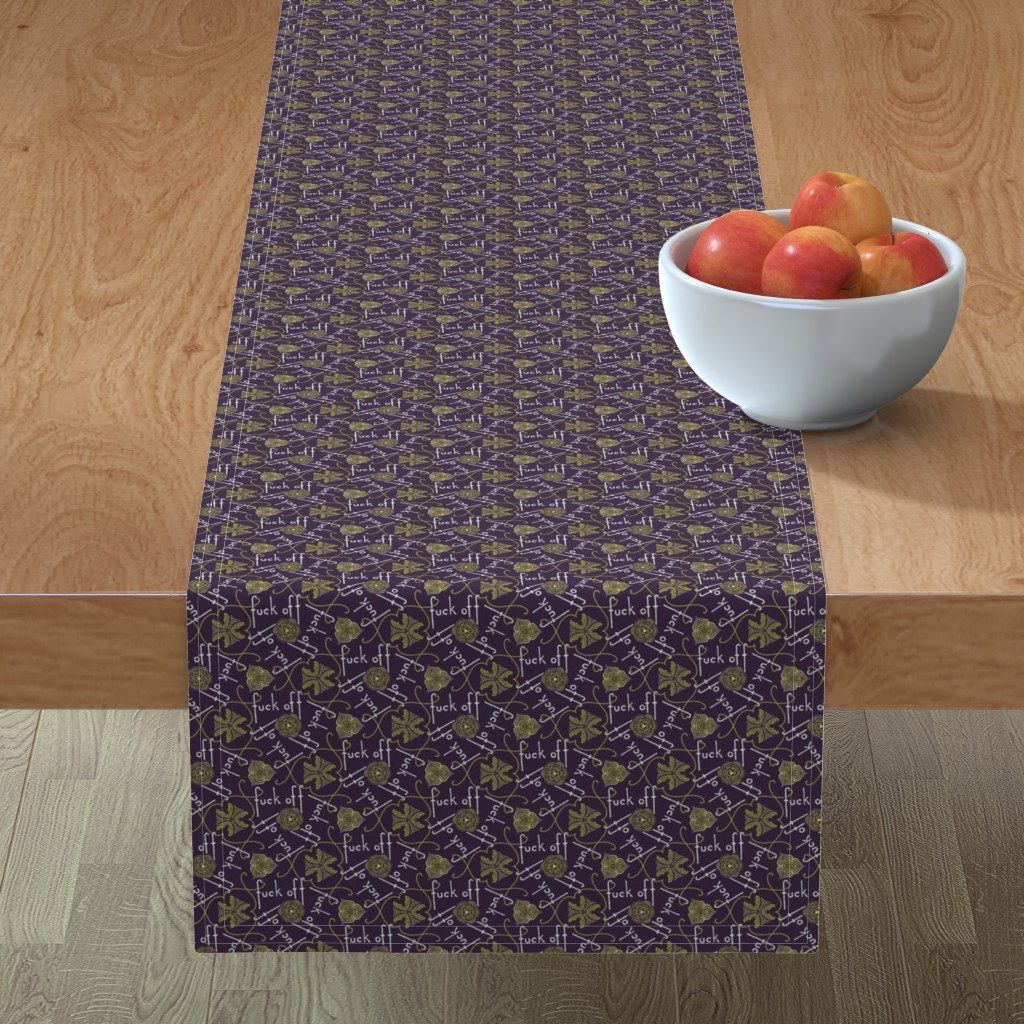 Minorca Table Runner featuring Fuck Off - cool by secretbean