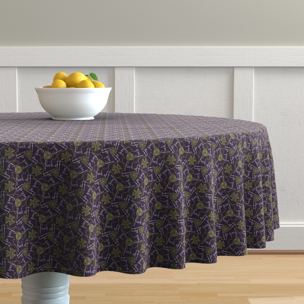 Malay Round Tablecloth featuring Fuck Off - cool by secretbean