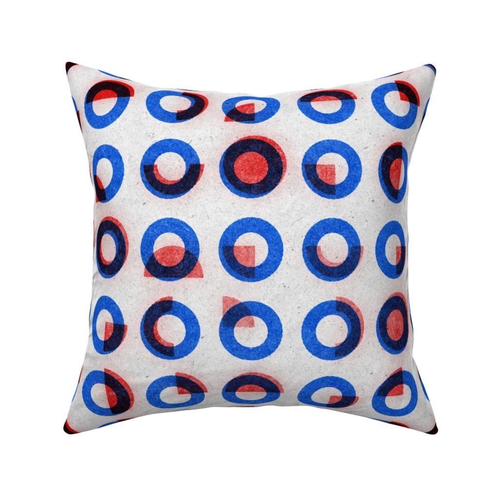 Catalan Throw Pillow featuring bauhaus print red blue rings by ghouk