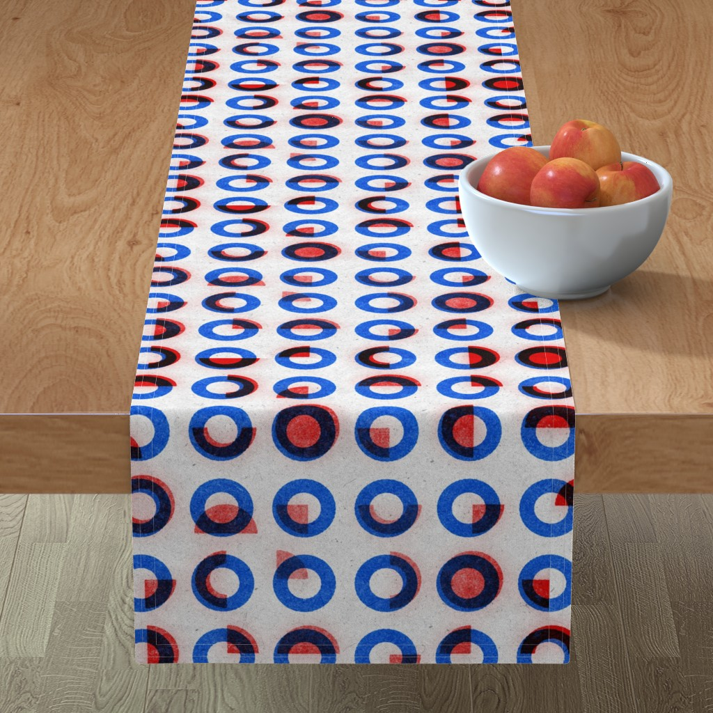 Minorca Table Runner featuring bauhaus print red blue rings by ghouk