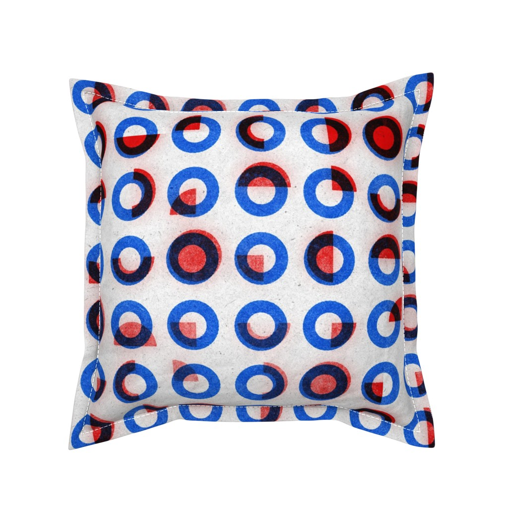 Serama Throw Pillow featuring bauhaus print red blue rings by ghouk