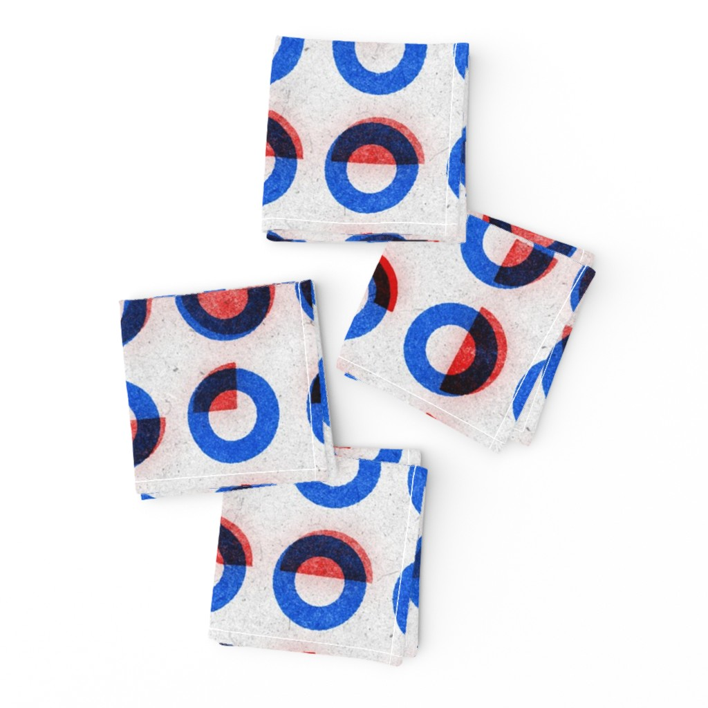 Frizzle Cocktail Napkins featuring bauhaus print red blue rings by ghouk