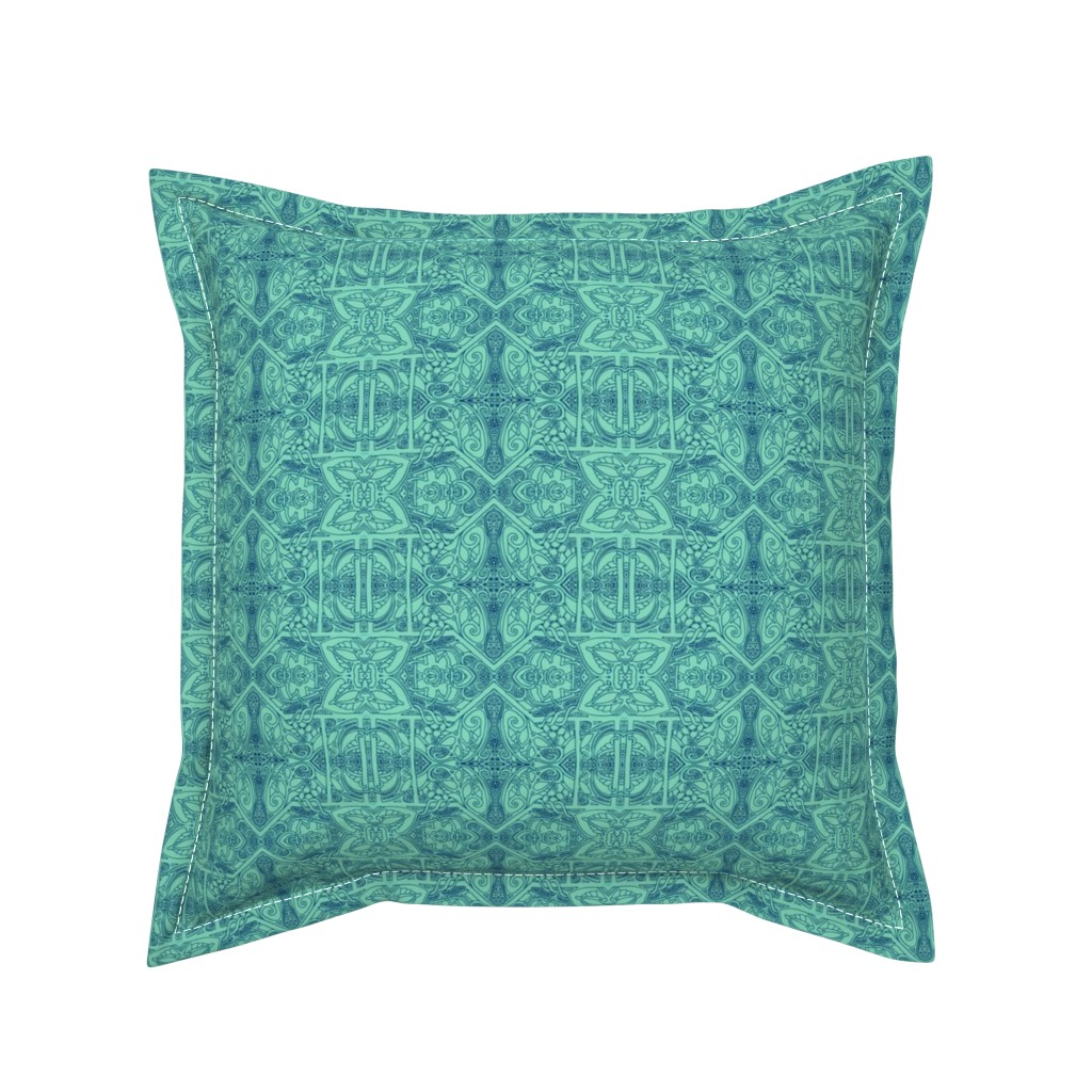 Serama Throw Pillow featuring Dotty Green Scene Seen by edsel2084