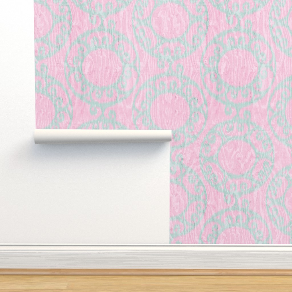 Isobar Durable Wallpaper featuring Scrolled Ringed Ikat Cherry Blossom Glacier by wickedrefined