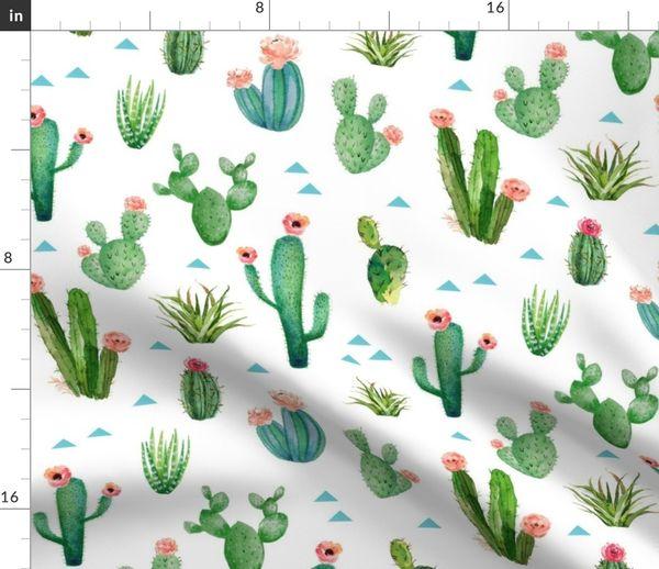 Watercolor Cactus Garden Large Scale Spoonflower