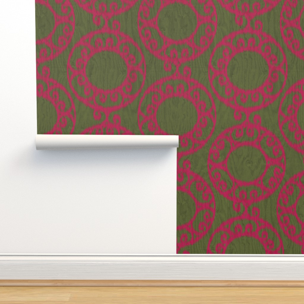 Isobar Durable Wallpaper featuring Scrolled Ringed Ikat Pesto Jazzy by wickedrefined